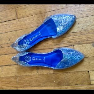 Jeffrey Campbell In Love Jelly D'Orsay Flat Silver